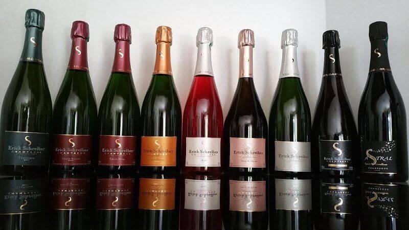 9 bouteilles de champagne biodynamique Erick Schreiber