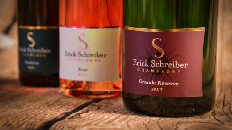 Trois bouteilles de Champagne Erick Schreiber.